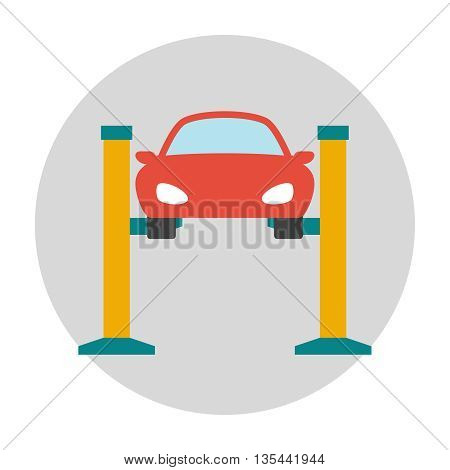 Car lifting flat icon. Car repair service center