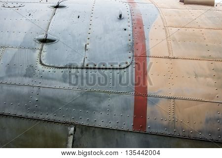 Close up Dirty texture of old plane body