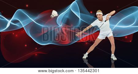 Badminton player playing badminton against blue wave