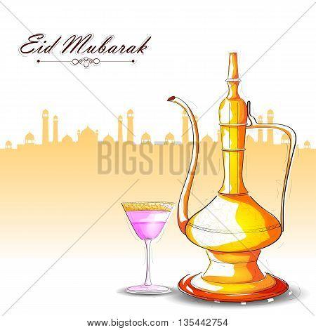 vector illustration of drink and beverage for Eid Mubarak Blessing for Eid background