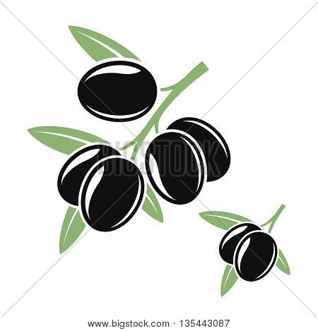 Abstract olive branches with black olives. (EPS)