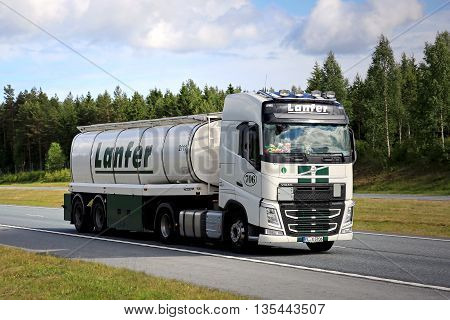 SALO, FINLAND - JUNE 10, 2016: Volvo FH semi tank truck of Lanfer Logistik moves along motorway in South of Finland at summer.