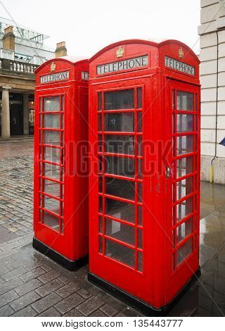 traditional red phoone boxes at covent garden London