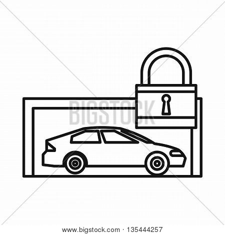 Car and padlock icon in outline style isolated on white background