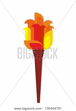 Bright burning torch. Cartoon flat vector illustration. Objects isolated on a white background.