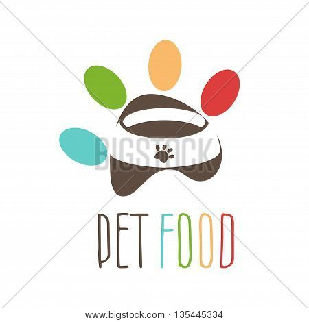 Abstract logo for pet's theme. Pet's bowl in the negative space pet's paw. Vector illustration
