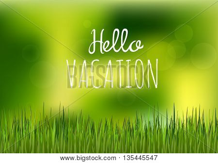 Focus on green grass floor with phrase hello vacation. Happy summer nature illustration. Spring bright natural background and forest in the back not in focus
