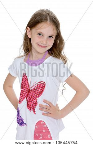 Adorable little girl with white t-shirts with the butterfly . close-up-Isolated on white background