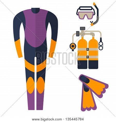Wetsuit, mask, snorkel and fins for diving. Cartoon flat vector illustration. Objects isolated on a white background.