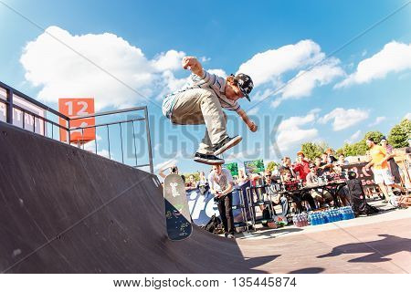 GRODNO, BELARUS - JUN 18: Athletes compete at Skateboard Challenge 2016 in Grodno, Belarus, June 18, 2016