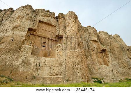 Naqsh-e Rustam an ancient necropolis in Pars Province Iran.