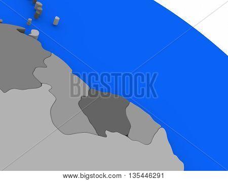 Guyana And Suriname  On Political Earth Model