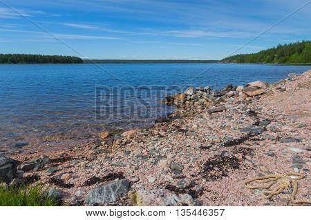 White Sea coastline in Karelian Republic Russia with blue sky