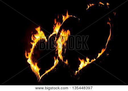 Hot fire love heart full of power and energy. Wonderful perfect red orange burning heart shape symbol for e.g. Valentine's Day love passion hope fight friendship power health or energy.