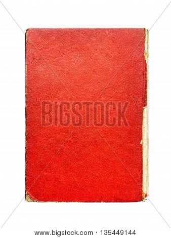 Old red paper hardcover of book abstract texture vintage background.