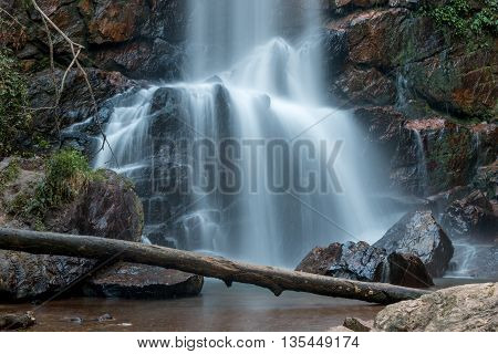 Waterfall Flowing Down and Over Rocks in the Interior of Brazil