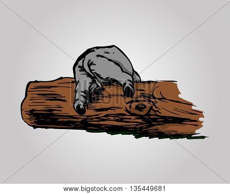 A graphical image of a funny elephant. Abstract drawing in color - a baby elephant can't climb over a log. Vector illustration