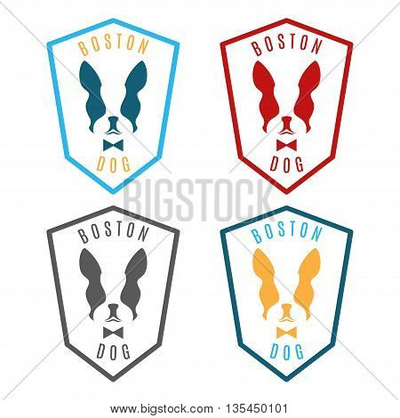 Illustration of set labels with boston terrier. Emblem for the Boston city. Vector