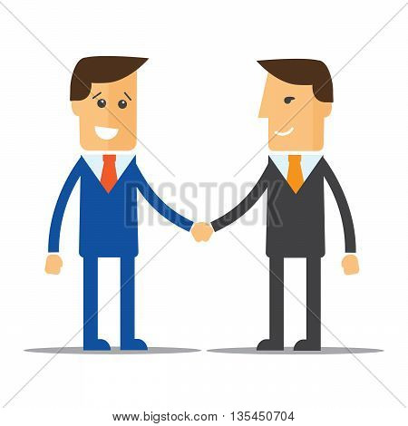 Businessmen shaking hands and smiling eps 10