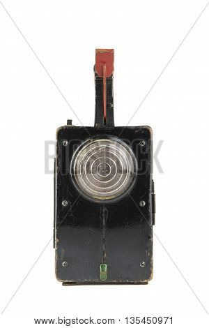 portrait of isolated in white  vintage railroad lantern