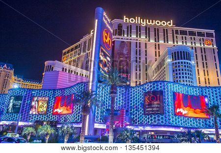 LAS VEGAS - JUNE 14 : Planet Hollywood Resort and Casino in Las Vegas on June 14 2016. Planet Hollywood has over 2500 rooms available and it located on Las Vegas Boulevard.