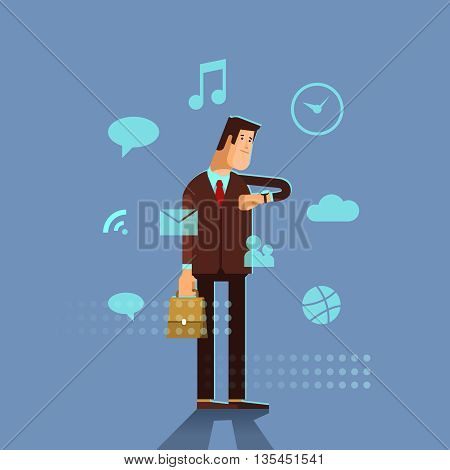 Man in a suit using his smart watch app. Businessman looking on a screen of his smart watch. Businessman with modern smart watch and apps icons. Vector flat illustration