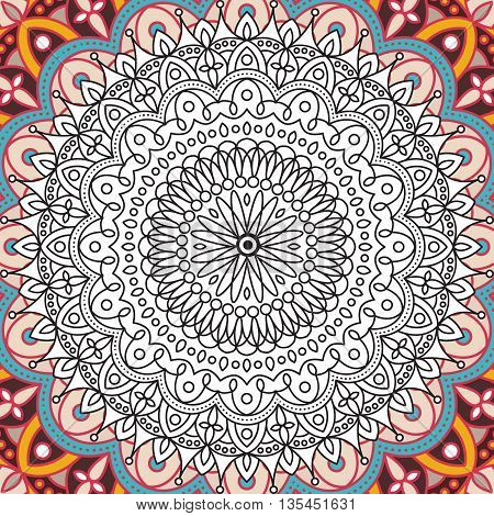 Printable coloring book page for adults - mandala design, activity to older children and relax adult. vector coloring book Islam, Arabic, Indian, ottoman motifs. Oriental colorful mandala.