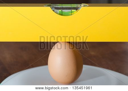 waterpas lies completely flat on the egg