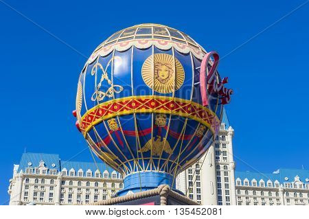 LAS VEGAS - MAY 21 : The Paris hotel in Las Vegas Nevada on May 21 2016. The hotel includes a half scale 541-foot (165 m) tall replica of the Eiffel Tower.