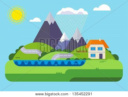 Alpine landscape with mountains, meadows and a small house. Objects isolated on background. Flat and cartoon vector illustration.