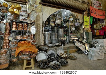SHIRAZ - APRIL 14: Traditional metal crafts in a market (Vakil Bazaar) in Shiraz Iran on April 14 2015. Vakil Bazaar is the most important tourist attraction in Shiraz Iran.