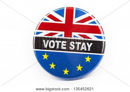 LONDON UK - JUNE 16TH 2016: A Vote Stay pin badge over a white background- referring to the upcoming Referendum on the UK's membership in the European Union taken on 16th June 2016.