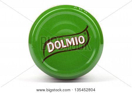 LONDON UK - JUNE 16TH 2016: Close-up of the Dolmio brand name on the lid of one of their products on 16th June 2016. Dolmio is a brand of Pasta Sauces made by Mars Incorporated.