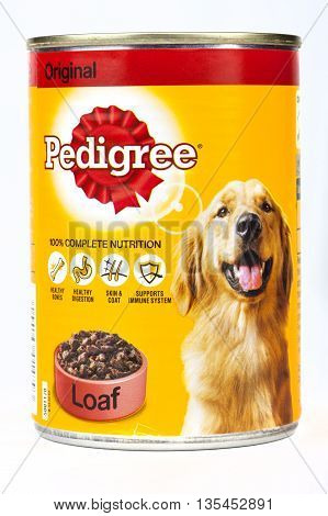 LONDON UK - 16TH JUNE 2016: A tin of Pedigree Dog Foodover a plain white background on 16th June 2016. Pedigree Petfoods is a subsidiary of Mars Incorporated.