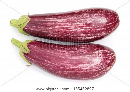 Two striped eggplants on a white background.