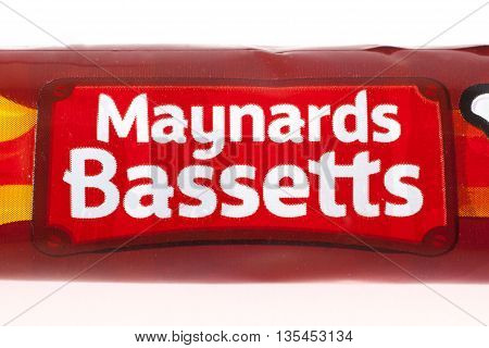 LONDON UK - JUNE 16TH 2016: The Maynards Bassetts brand logo on one of their confectionery products on 16th June 2016. Maynards Bassetts is a brand of Mondelez International.