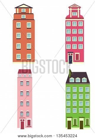 Set of color apartment house. Cartoon flat vector illustration. Objects isolated on a white background.