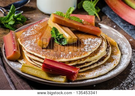 Homemade Pancakes With Roasted Rhubarb