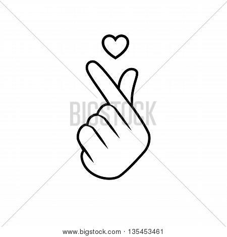 Korean symbol hand heart a message of love hand gesture.