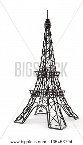 Black wire eiffel toy tower isolated on white background - 3D illustration