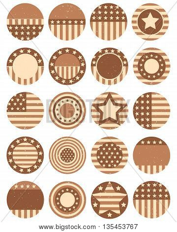 Vintage vector set icons with symbols of the USA for 4th july american independence day
