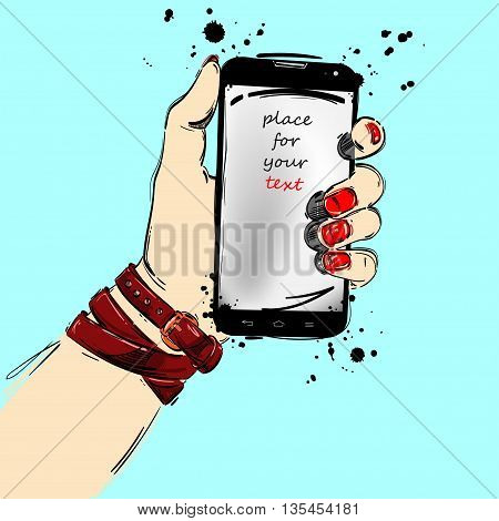 Mobile phone close-up in a female hand. Fashion illustration.