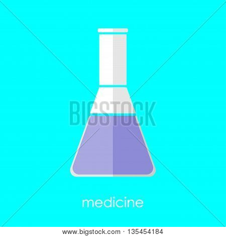 Flat linear beaker icon. Isolate on white background. Medicine and science. Chemistry and biology. Flask.