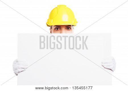 Woman Builder In The Blue Uniform