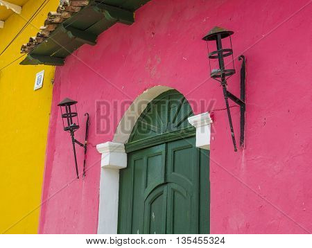 SUCHITOTO EL SALVADOR - MAY 07 : Architectural details in Suchitoto El Salvador on May 07 2016. the colonial town of Suchitoto built by the Spaniards in the 18th century