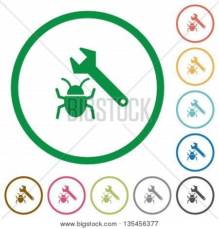 Set of Bug fixing color round outlined flat icons on white background