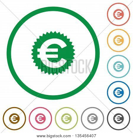 Set of euro sticker color round outlined flat icons on white background