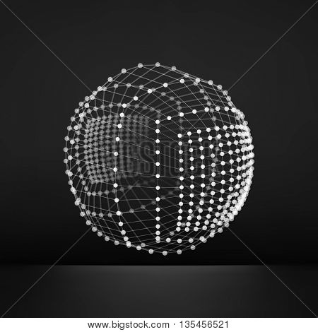 Sphere with Connected Lines and Dots. Global Digital Connections. Globe Grid. Wireframe Illustration. 3D Technology Style. Networks.