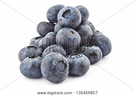 Pile of fresh ripe organic blueberries isolated on a white background