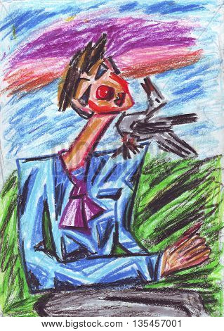 Oil pastel painting of a clown and bird